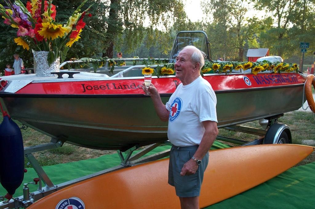 Josef Linder bei der Bootstaufe