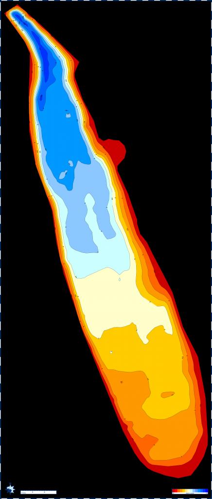 Seekarte vom Kuhsee, max. Tiefe 5 Meter im Norden