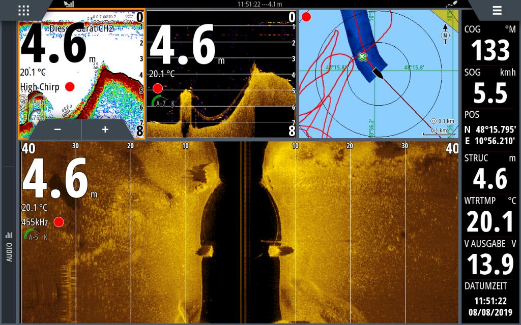 Bildschirmanzeige vom Sonargerät Typ SIMRAD