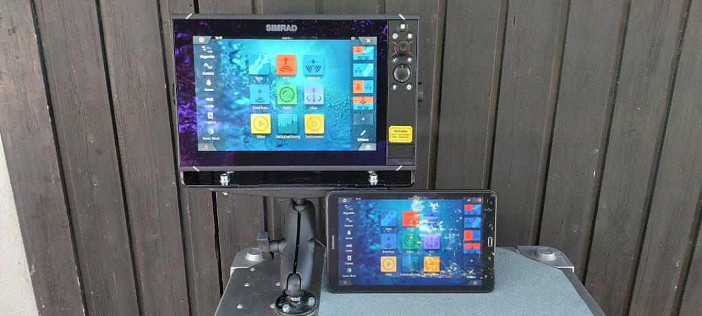 Gerätebedienung des SIMRAD Gerätes mit einem Tablet